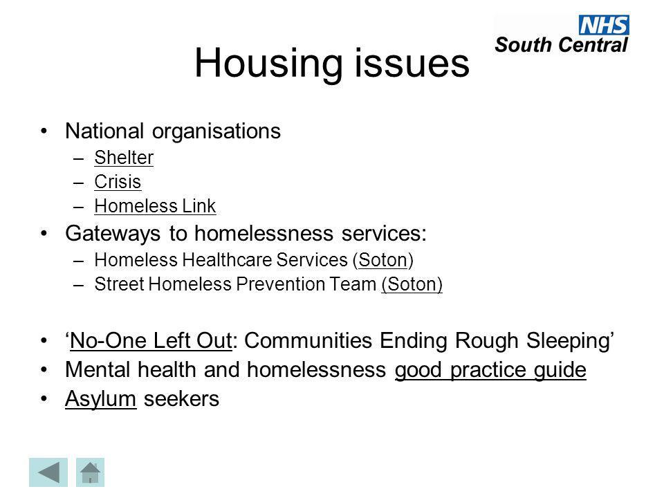 Housing issues National organisations –ShelterShelter –CrisisCrisis –Homeless LinkHomeless Link Gateways to homelessness services: –Homeless Healthcar