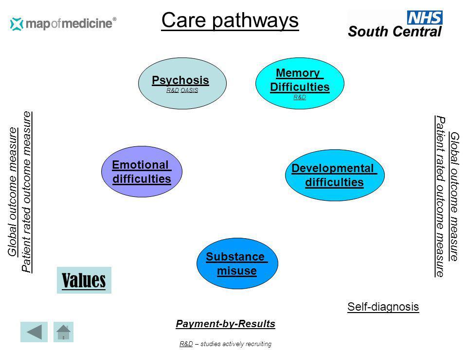 Care pathways Global outcome measure Patient rated outcome measure Global outcome measure Patient rated outcome measure Payment-by-Results R&DR&D – st