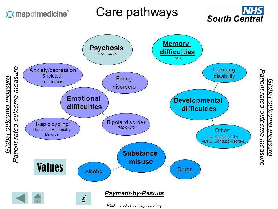 Care pathways Global outcome measure Patient rated outcome measure Global outcome measure Patient rated outcome measure Payment-by-Results iiii R&DR&D