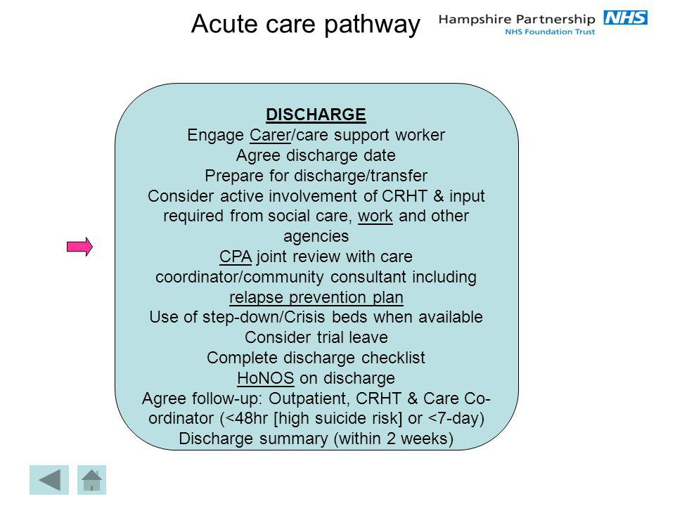 Acute care pathway DISCHARGE Engage Carer/care support workerCarer Agree discharge date Prepare for discharge/transfer Consider active involvement of