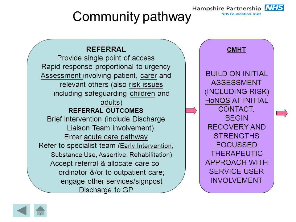 Community pathway REFERRAL Provide single point of access Rapid response proportional to urgency Assessment Assessment involving patient, carer and re