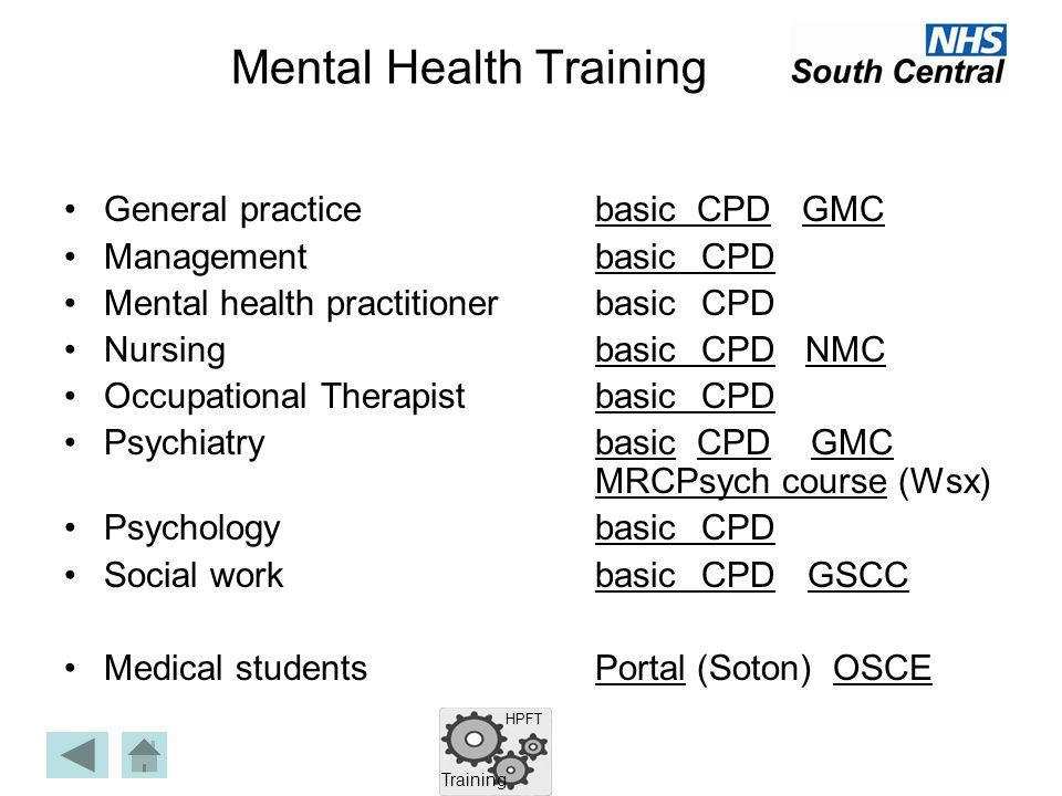 Mental Health Training General practicebasic CPD GMCbasic CPDGMC Management basicCPDbasicCPD Mental health practitionerbasicCPD NursingbasicCPD NMCbas