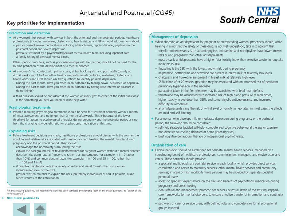 Antenatal and Postnatal ( CG45) CG45