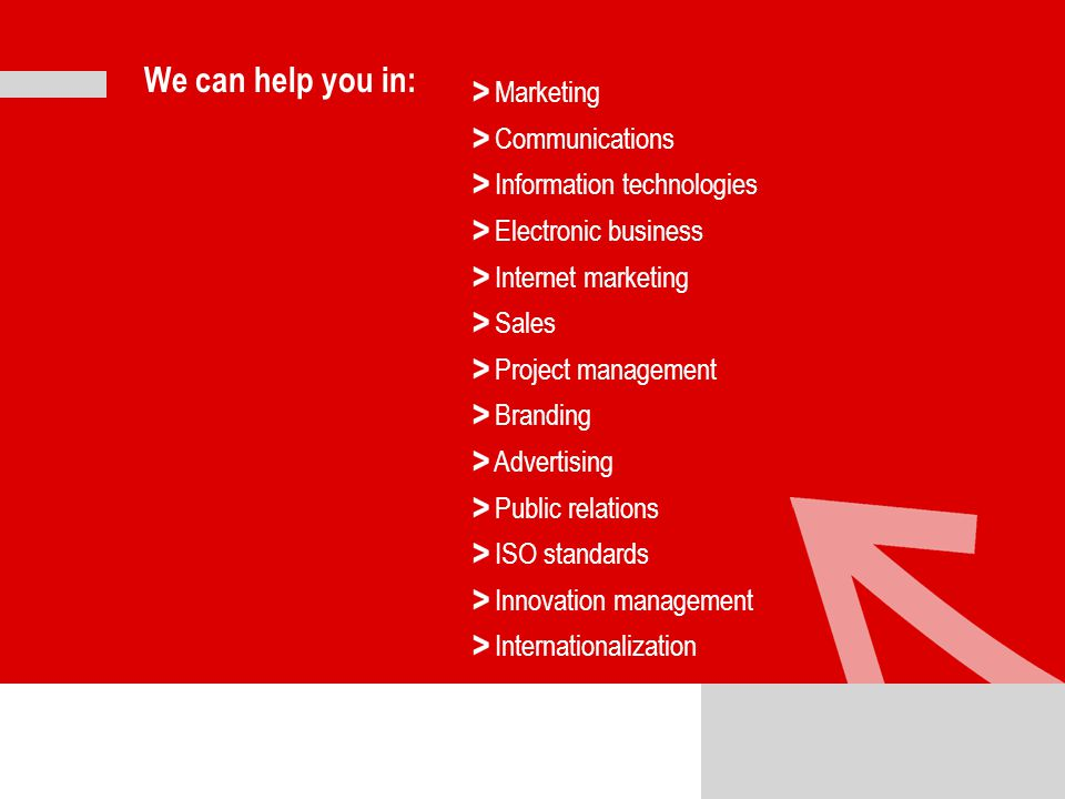 We can help you in: Marketing Communications Information technologies Electronic business Internet marketing Sales Project management Branding Advertising Public relations ISO standards Innovation management Internationalization