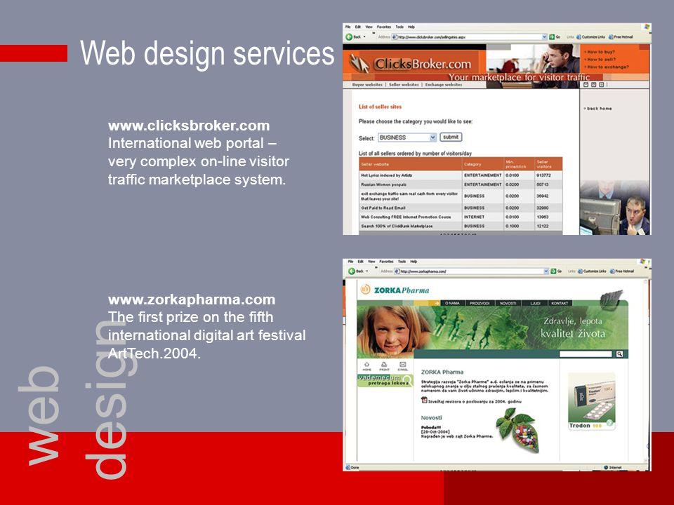 Web design services web design www.clicksbroker.com International web portal – very complex on-line visitor traffic marketplace system.