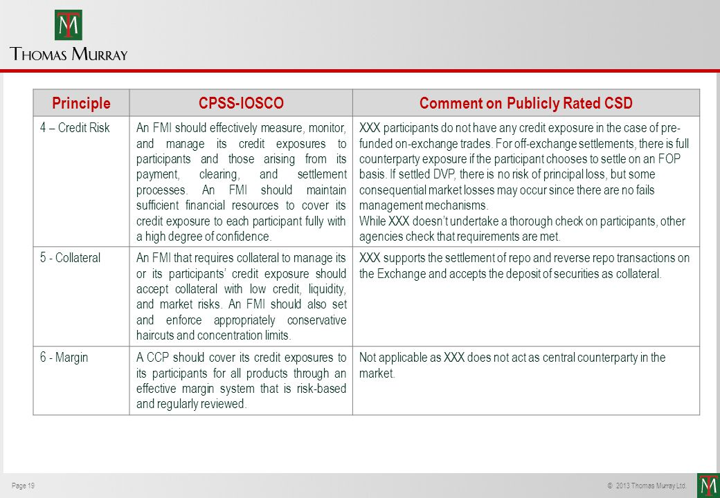 Page 19© 2013 Thomas Murray Ltd. PrincipleCPSS-IOSCOComment on Publicly Rated CSD 4 – Credit RiskAn FMI should effectively measure, monitor, and manag