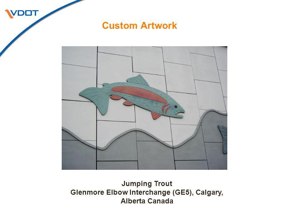 Custom Artwork Jumping Trout Glenmore Elbow Interchange (GE5), Calgary, Alberta Canada