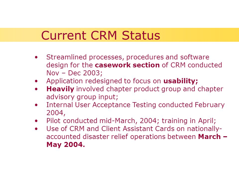 Streamlined processes, procedures and software design for the casework section of CRM conducted Nov – Dec 2003; Application redesigned to focus on usability; Heavily involved chapter product group and chapter advisory group input; Internal User Acceptance Testing conducted February 2004, Pilot conducted mid-March, 2004; training in April; Use of CRM and Client Assistant Cards on nationally- accounted disaster relief operations between March – May 2004.
