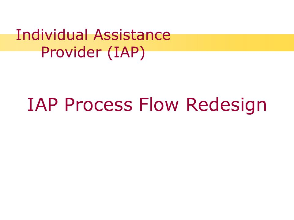 Individual Assistance Provider (IAP) IAP Process Flow Redesign