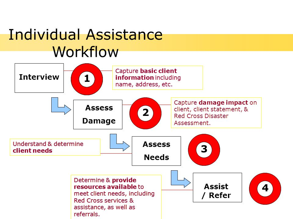 Assess Damage Assist / Refer Assess Needs Interview Capture basic client information including name, address, etc.