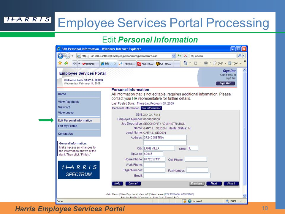 Harris Employee Services Portal 10 Edit Personal Information Employee Services Portal Processing