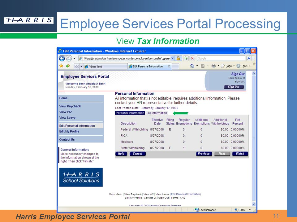 Harris Employee Services Portal 11 View Tax Information Employee Services Portal Processing