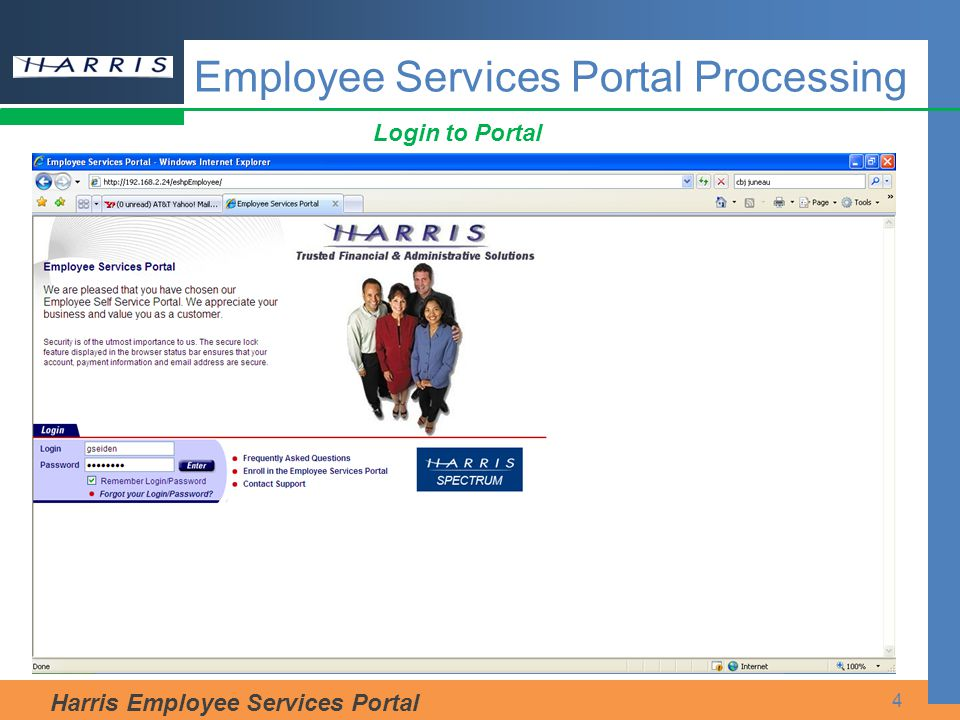 Harris Employee Services Portal 4 Employee Services Portal Processing Login to Portal