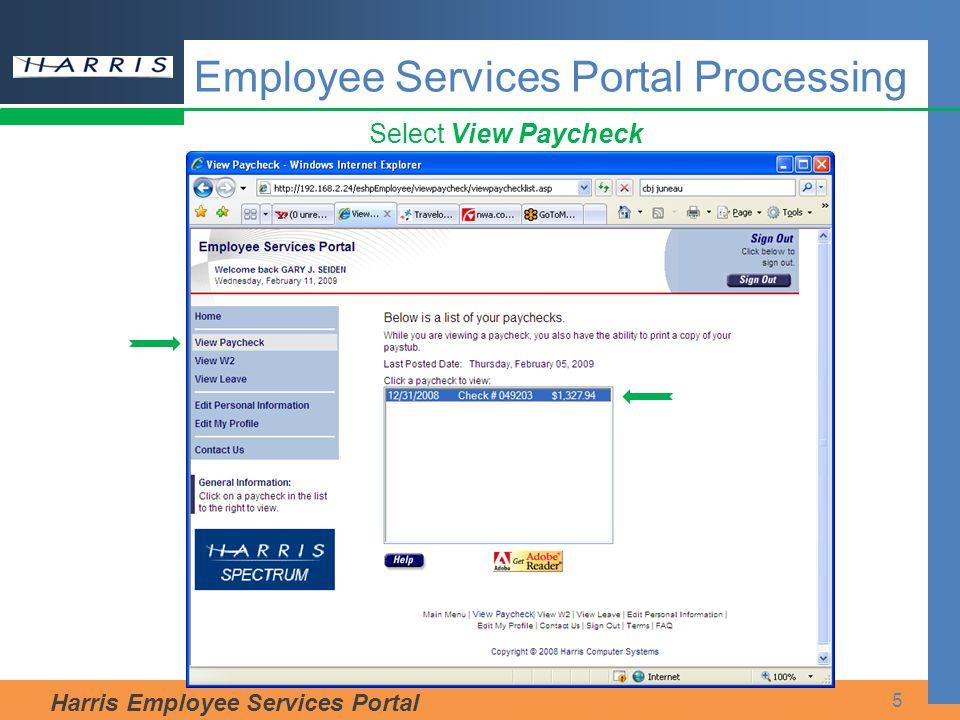 Harris Employee Services Portal 5 Select View Paycheck Employee Services Portal Processing