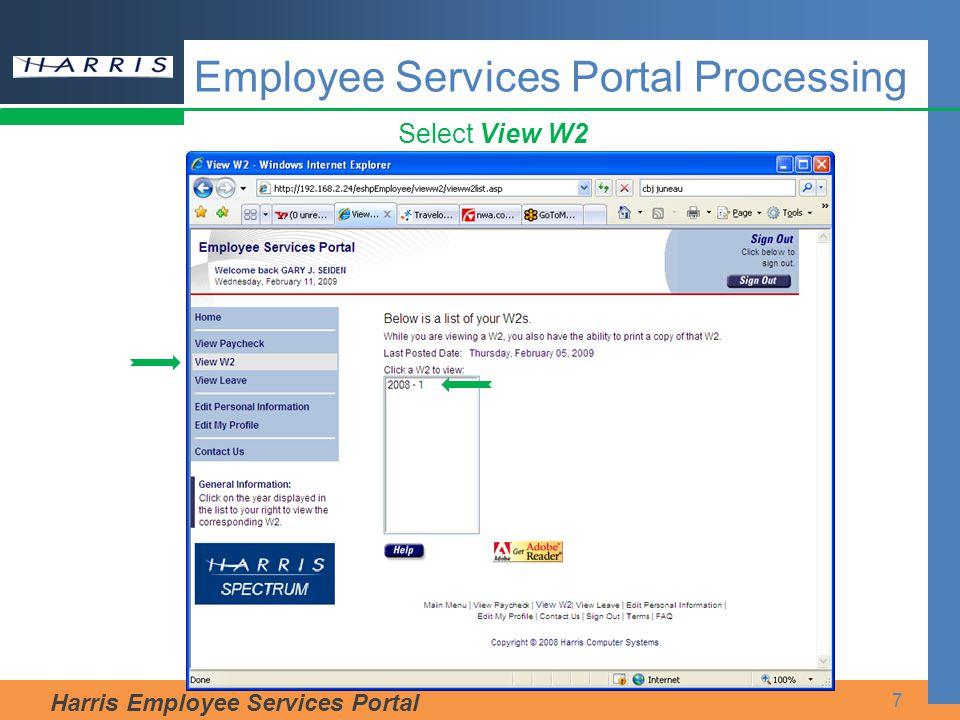 Harris Employee Services Portal 8 Display W2 Employee Services Portal Processing