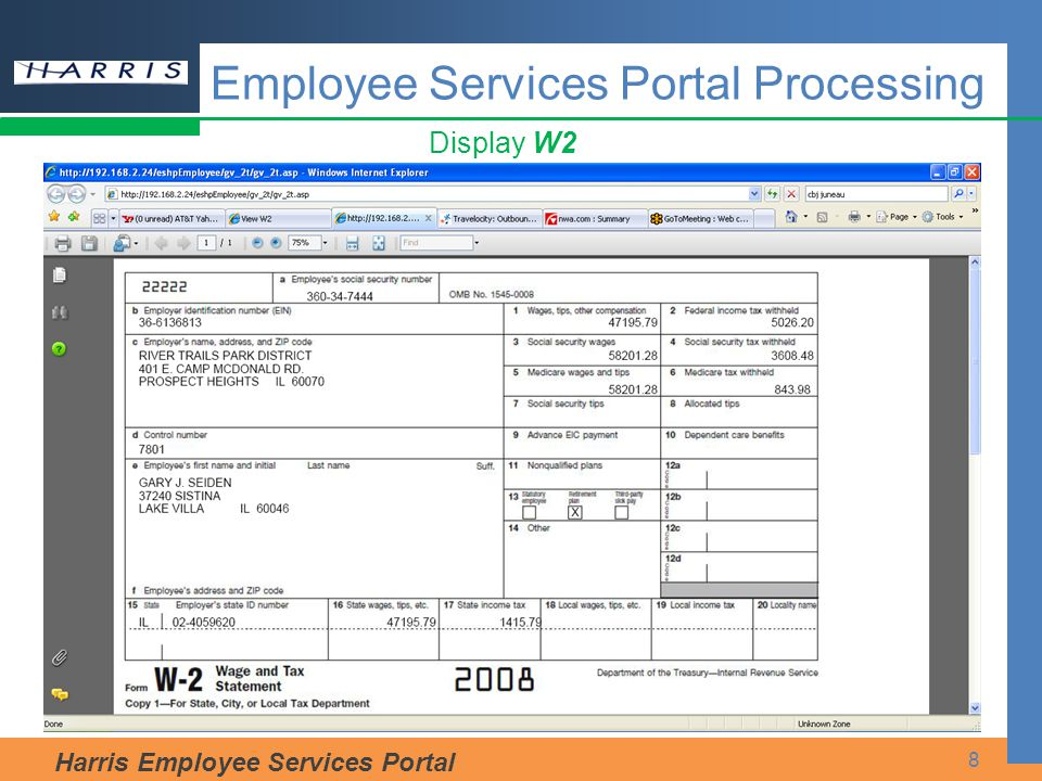 Harris Employee Services Portal 8 Display W2 Employee Services Portal Processing