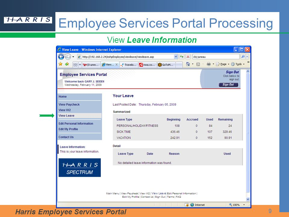 Harris Employee Services Portal 9 View Leave Information Employee Services Portal Processing