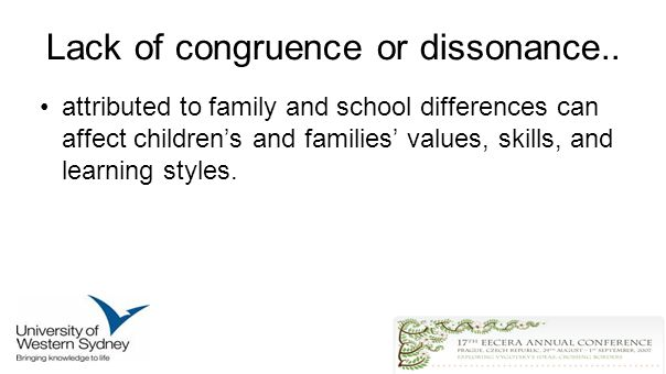 Lack of congruence or dissonance..
