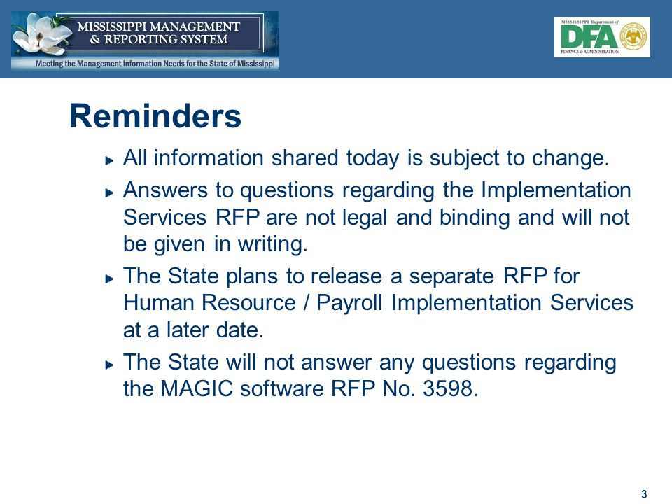 14 Software Selection Summer 2010 Services RFP Released Summer 2010 Services RFP Proposals Due Fall 2010 Parallel Process No Vendor Selected Fall 2010 Proposal Rejected & Contract Negotiations Stopped Pass Proposal Rejected Fail RFP Evaluation Fall 2010 Review Mandatory Provisions Fall 2010 Presentation Invitation Fall 2010 Yes RFP Cost Review Fall 2010 Vendor Presentation Fall 2010 Contract Exceptions Review Fall 2010 Software RFP Proposals Due March 15, 2010 Project Start Fall 2010 Contract Negotiations Fall 2010 Signed Written Statement of Intent to Execute Agreement Fall 2010