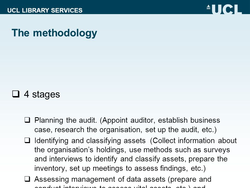 The methodology 4 stages Planning the audit.