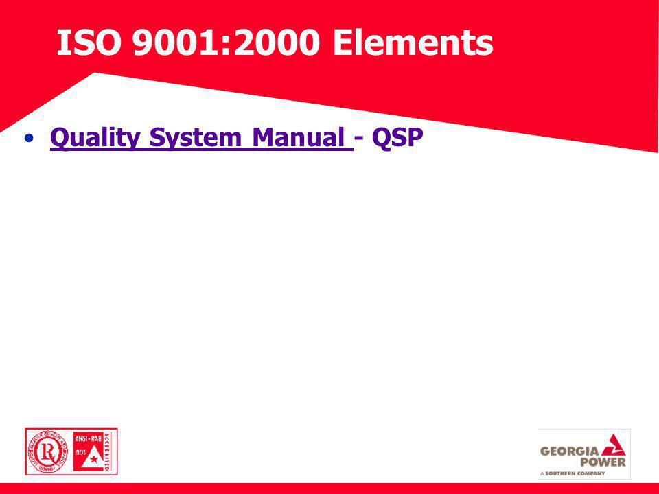 ISO 9001:2000 Elements Quality System Manual - QSPQuality System Manual