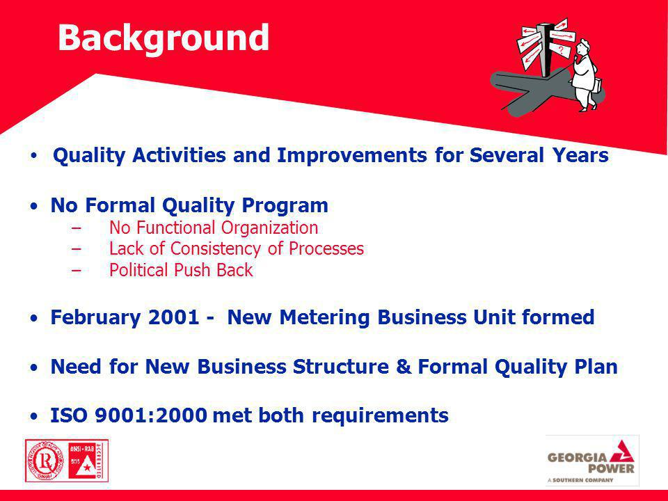 Background Quality Activities and Improvements for Several Years No Formal Quality Program – No Functional Organization – Lack of Consistency of Proce