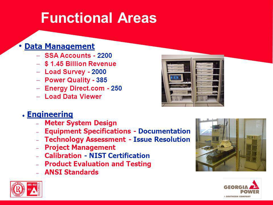 Functional Areas Data Management SSA Accounts - 2200 $ 1.45 Billion Revenue Load Survey - 2000 Power Quality - 385 Energy Direct.com - 250 Load Data Viewer Engineering Meter System Design Equipment Specifications - Documentation Technology Assessment - Issue Resolution Project Management Calibration - NIST Certification Product Evaluation and Testing ANSI Standards