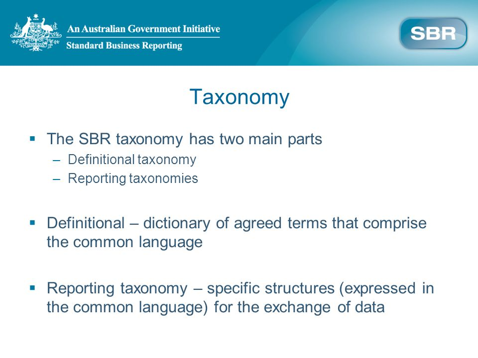 Taxonomy The SBR taxonomy has two main parts –Definitional taxonomy –Reporting taxonomies Definitional – dictionary of agreed terms that comprise the common language Reporting taxonomy – specific structures (expressed in the common language) for the exchange of data