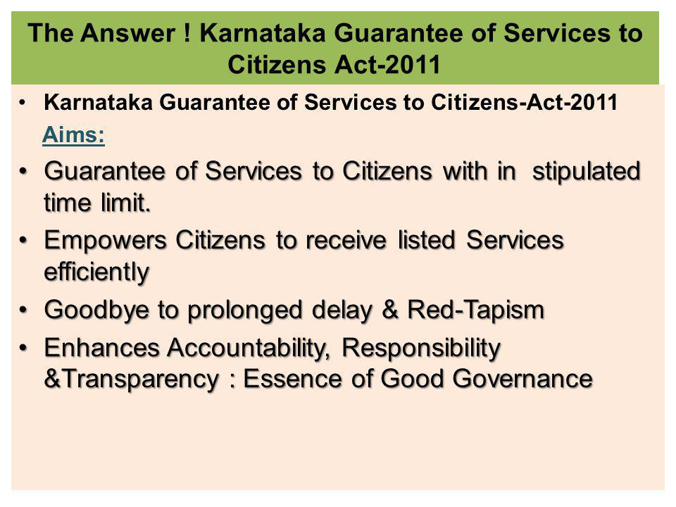 SCHEDULED 151 SERVICES FOR 11 DEPARTMENTS Karnataka Guarantee of Services to Citizens Act 2011