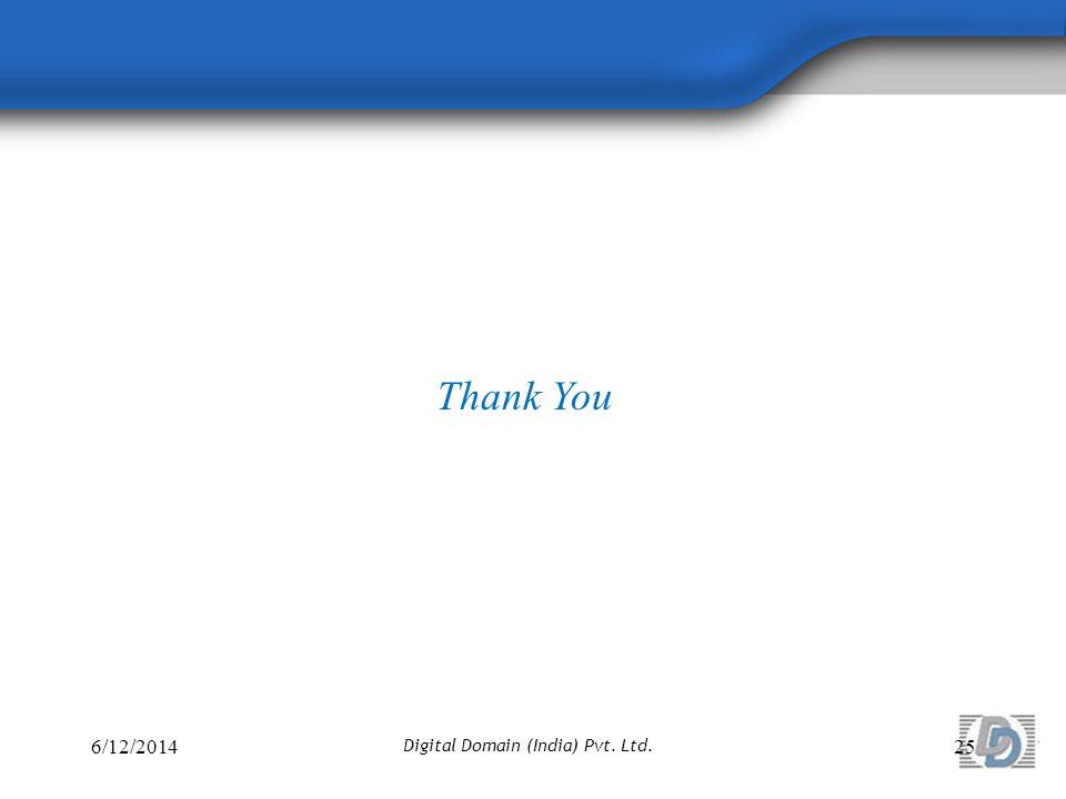 6/12/201425 Digital Domain (India) Pvt. Ltd. Thank You
