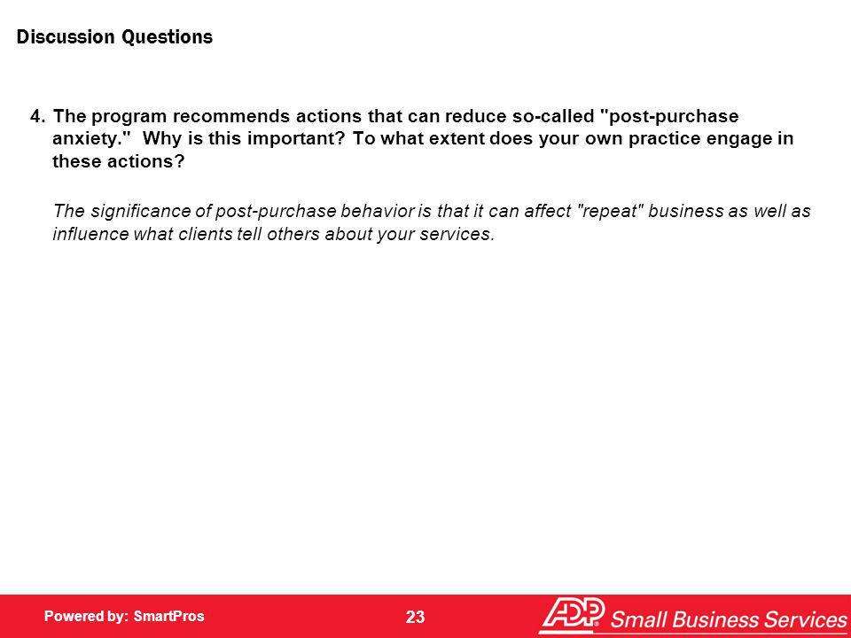 Powered by: SmartPros 23 Discussion Questions 4.The program recommends actions that can reduce so-called