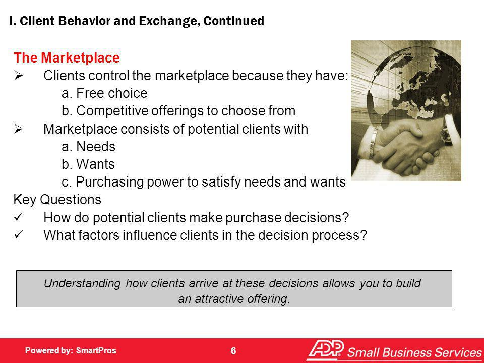 Powered by: SmartPros 6 I. Client Behavior and Exchange, Continued The Marketplace Clients control the marketplace because they have: a. Free choice b