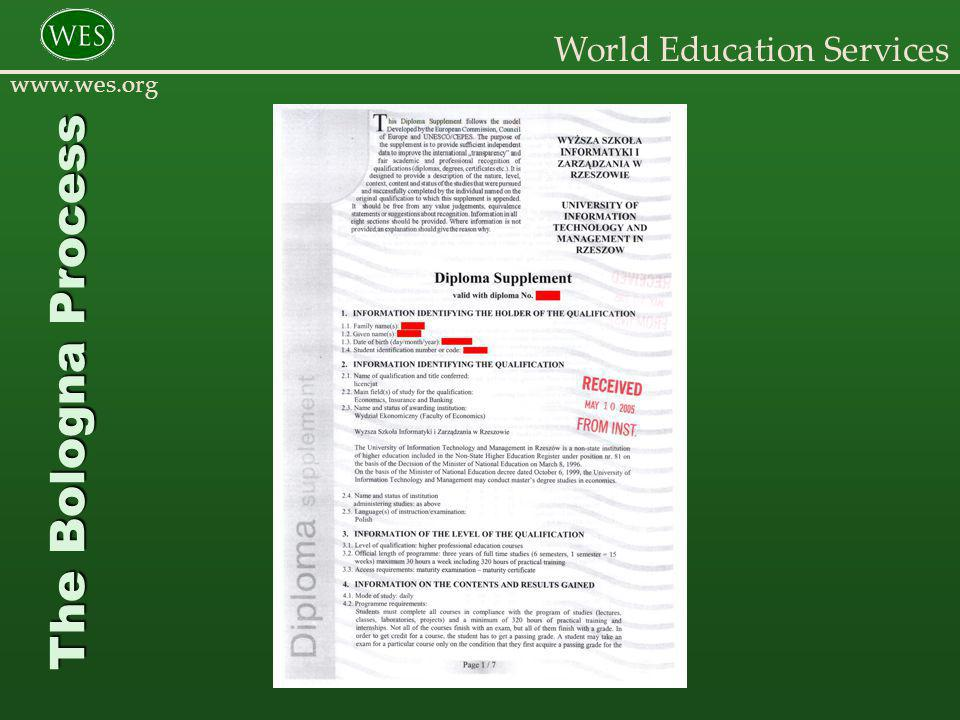 World Education Services www.wes.org The Bologna Process