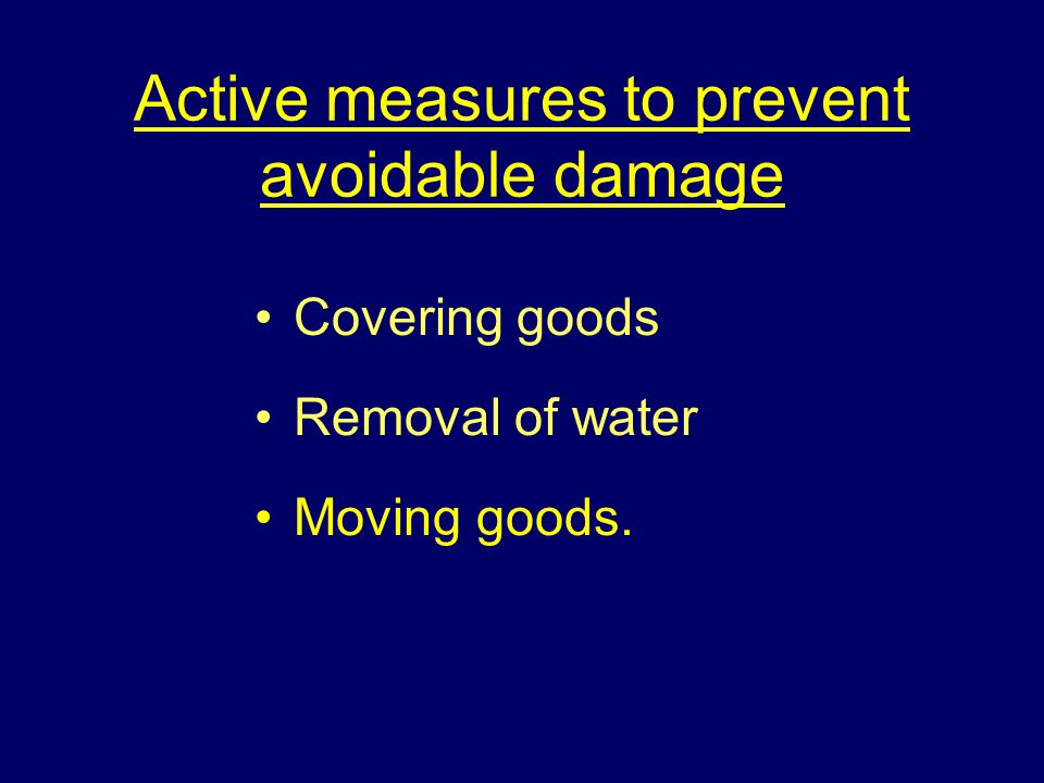 Active measures to prevent avoidable damage Covering goods Removal of water Moving goods.