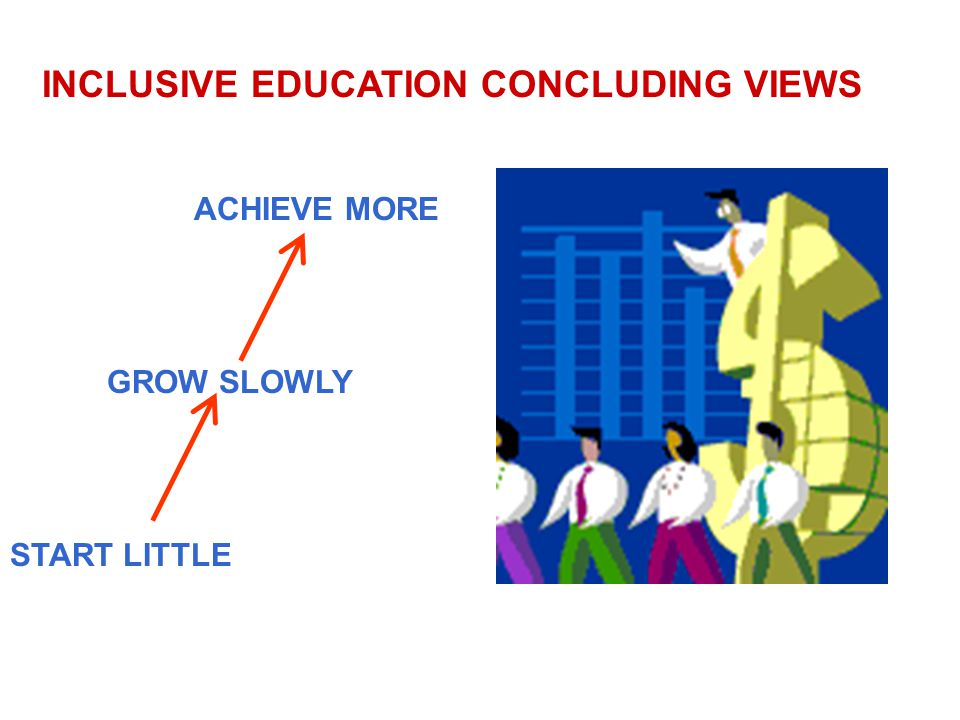 INCLUSIVE EDUCATION CONCLUDING VIEWS ACHIEVE MORE GROW SLOWLY START LITTLE