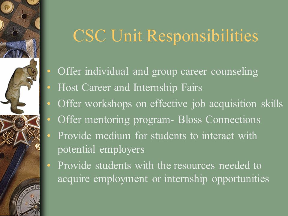 CSC Unit Responsibilities Offer individual and group career counseling Host Career and Internship Fairs Offer workshops on effective job acquisition skills Offer mentoring program- Bloss Connections Provide medium for students to interact with potential employers Provide students with the resources needed to acquire employment or internship opportunities