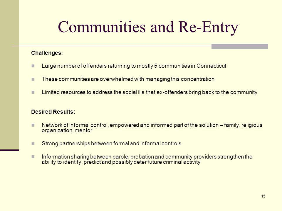 15 Communities and Re-Entry Challenges: Large number of offenders returning to mostly 5 communities in Connecticut These communities are overwhelmed with managing this concentration Limited resources to address the social ills that ex-offenders bring back to the community Desired Results: Network of informal control, empowered and informed part of the solution – family, religious organization, mentor Strong partnerships between formal and informal controls Information sharing between parole, probation and community providers strengthen the ability to identify, predict and possibly deter future criminal activity