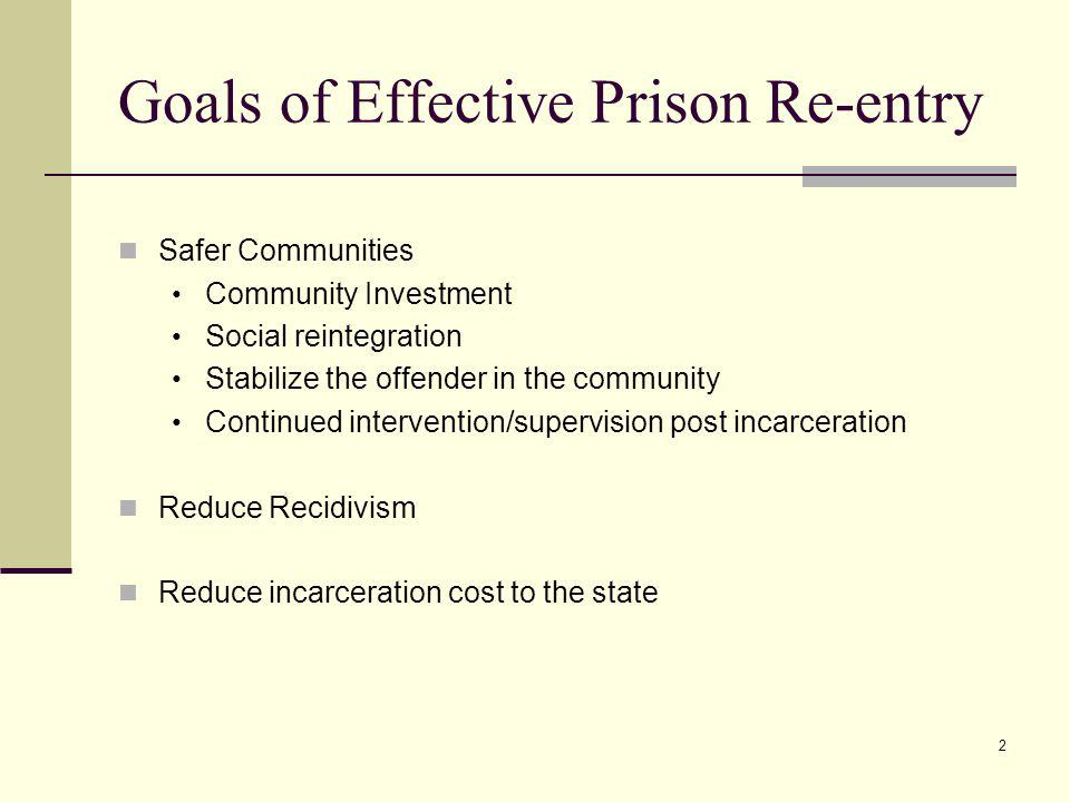 2 Goals of Effective Prison Re-entry Safer Communities Community Investment Social reintegration Stabilize the offender in the community Continued intervention/supervision post incarceration Reduce Recidivism Reduce incarceration cost to the state