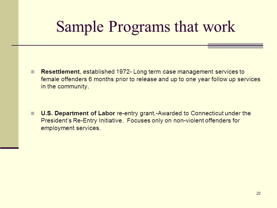 20 Sample Programs that work Resettlement, established 1972- Long term case management services to female offenders 6 months prior to release and up to one year follow up services in the community.