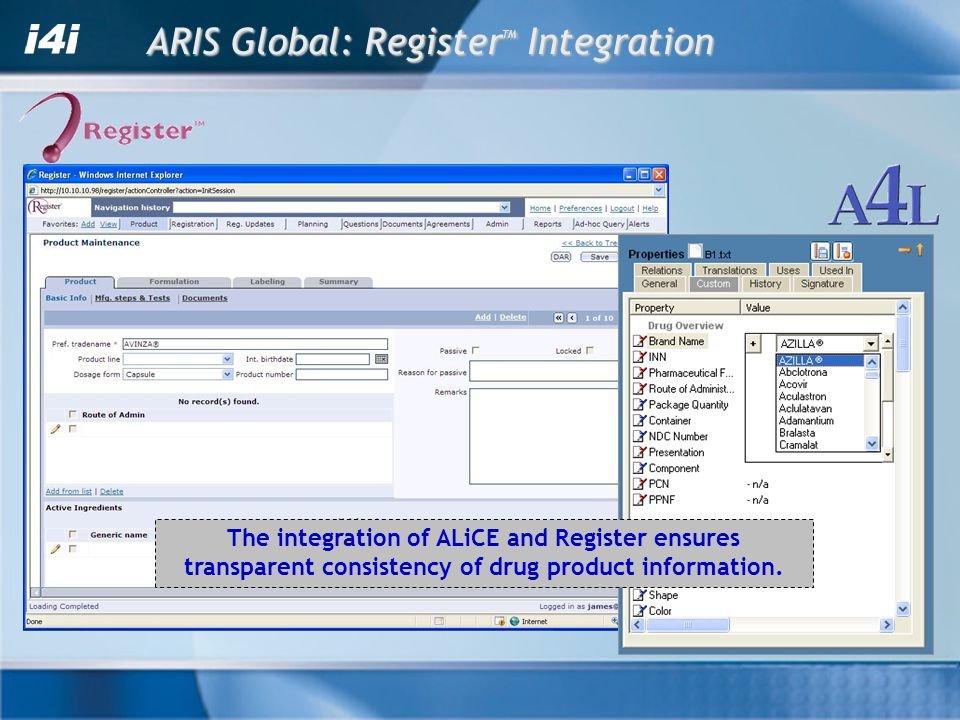The integration of ALiCE and Register ensures transparent consistency of drug product information. ARIS Global: Register TM Integration