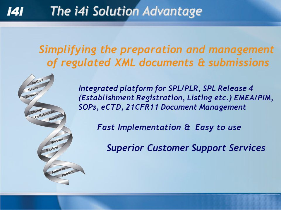The i4i Solution Advantage Integrated platform for SPL/PLR, SPL Release 4 (Establishment Registration, Listing etc.) EMEA/PIM, SOPs, eCTD, 21CFR11 Document Management Fast Implementation & Easy to use Superior Customer Support Services Simplifying the preparation and management of regulated XML documents & submissions
