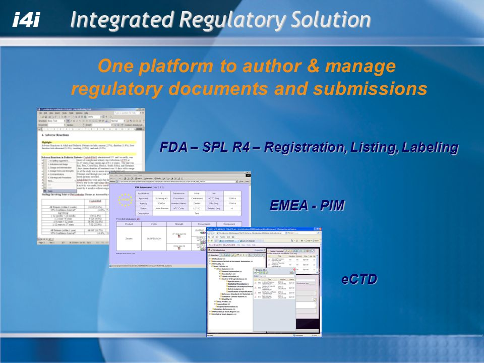 FDA – SPL R4 – Registration, Listing, Labeling Integrated Regulatory Solution EMEA - PIM eCTD One platform to author & manage regulatory documents and