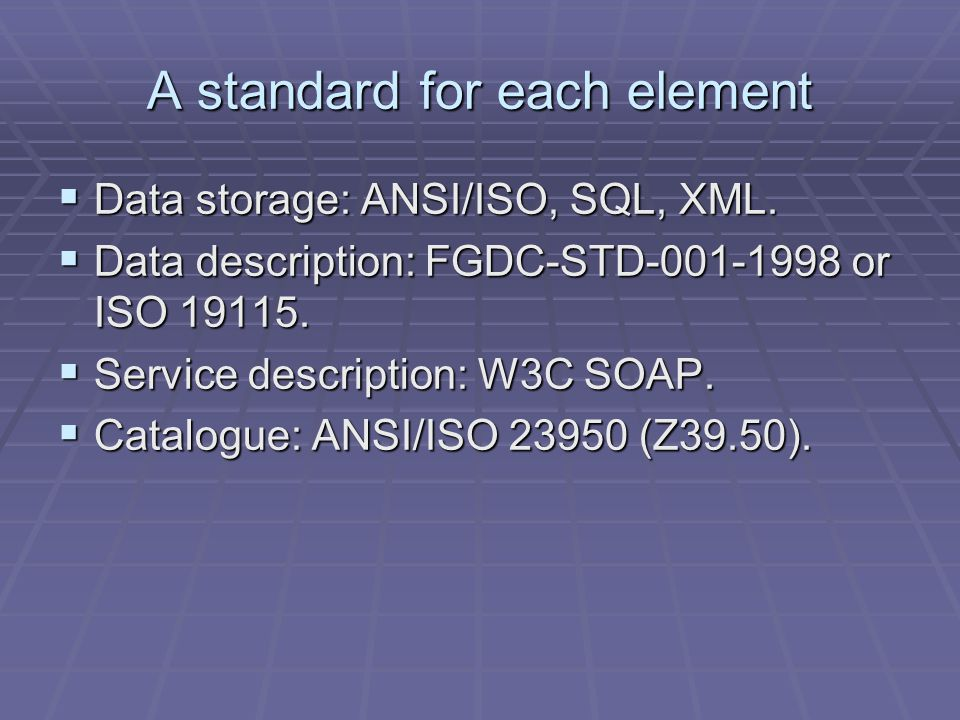A standard for each element Data storage: ANSI/ISO, SQL, XML.