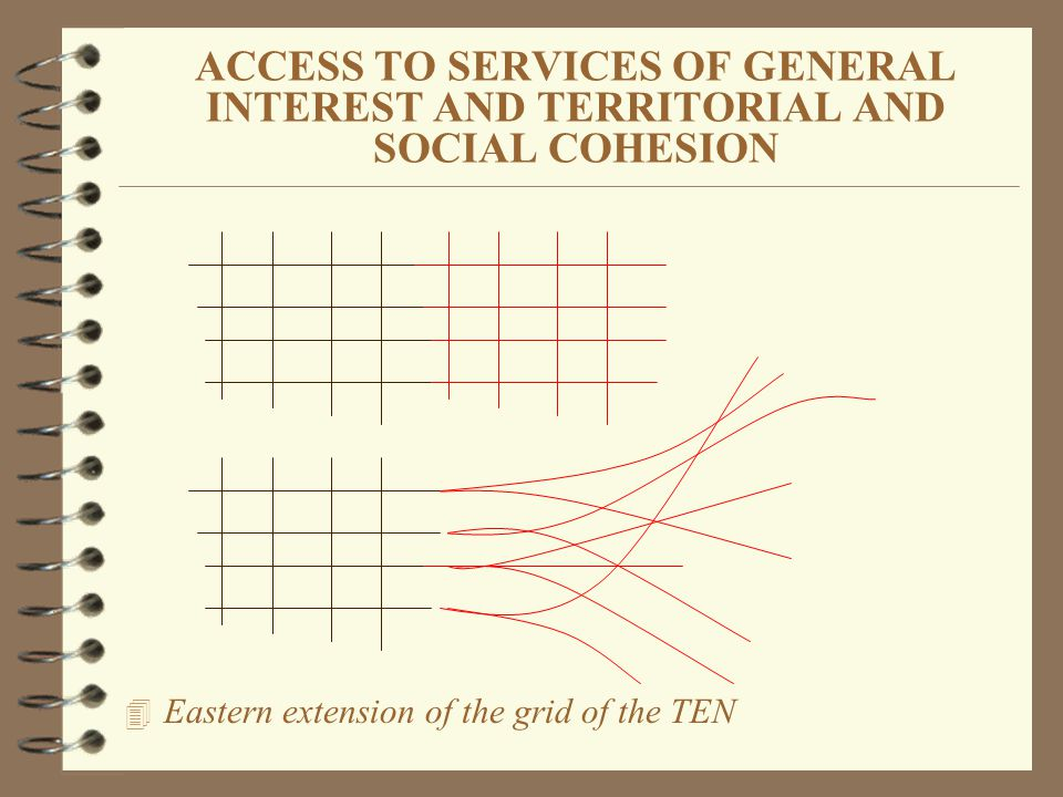ACCESS TO SERVICES OF GENERAL INTEREST AND TERRITORIAL AND SOCIAL COHESION 4 Eastern extension of the grid of the TEN