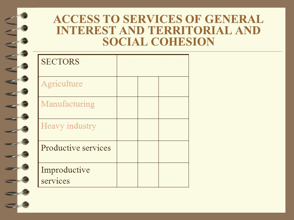 ACCESS TO SERVICES OF GENERAL INTEREST AND TERRITORIAL AND SOCIAL COHESION SECTORS Agriculture Manufacturing Heavy industry Productive services Improductive services