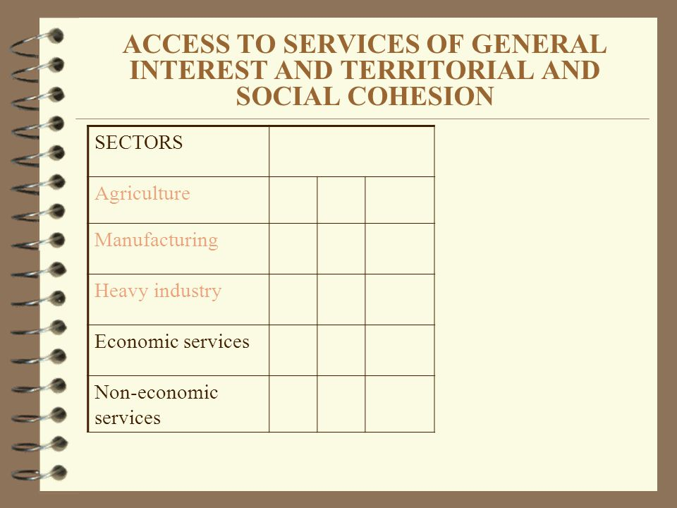 ACCESS TO SERVICES OF GENERAL INTEREST AND TERRITORIAL AND SOCIAL COHESION SECTORS Agriculture Manufacturing Heavy industry Economic services Non-economic services
