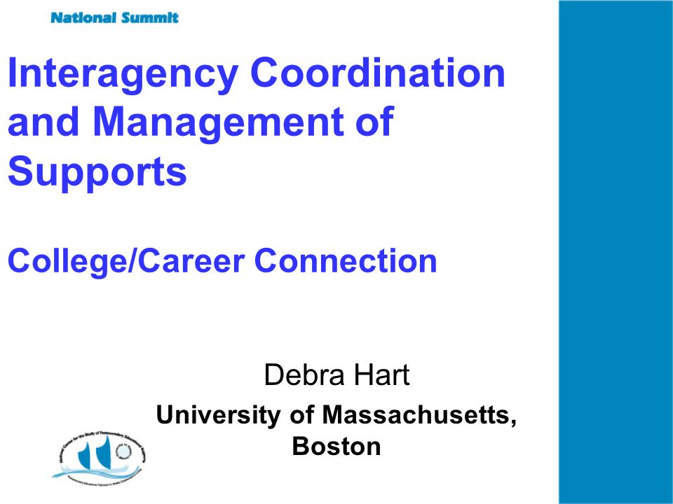 Interagency Coordination and Management of Supports College/Career Connection Debra Hart University of Massachusetts, Boston