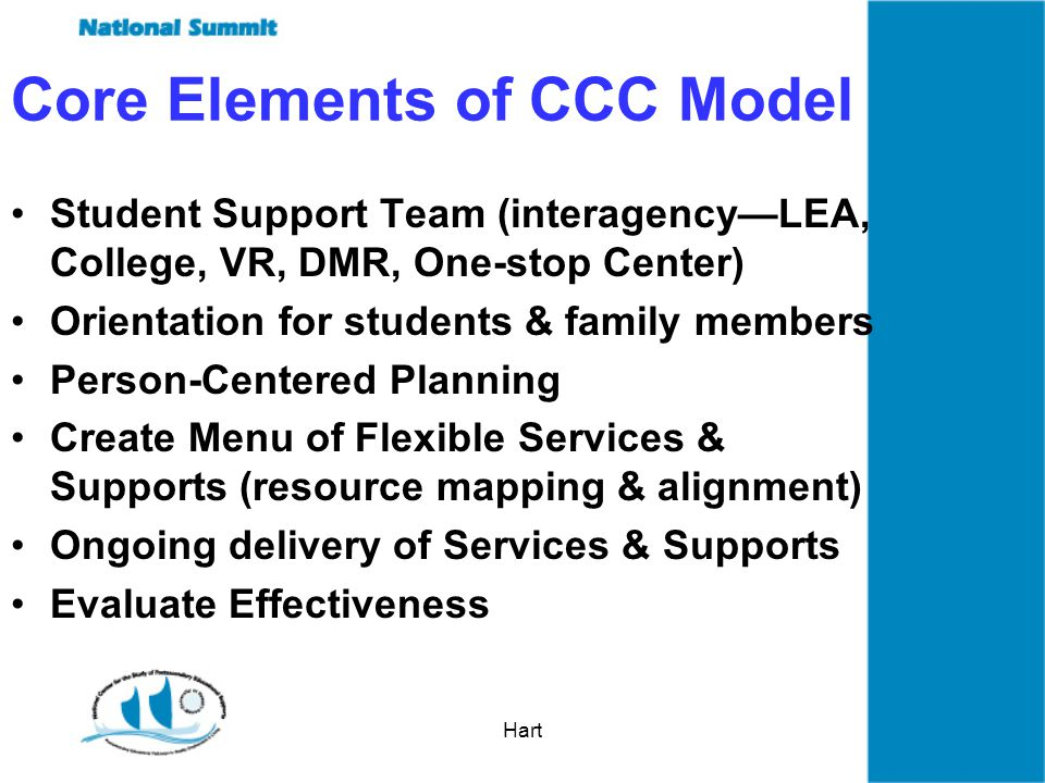 Hart Core Elements of CCC Model Student Support Team (interagencyLEA, College, VR, DMR, One-stop Center) Orientation for students & family members Person-Centered Planning Create Menu of Flexible Services & Supports (resource mapping & alignment) Ongoing delivery of Services & Supports Evaluate Effectiveness