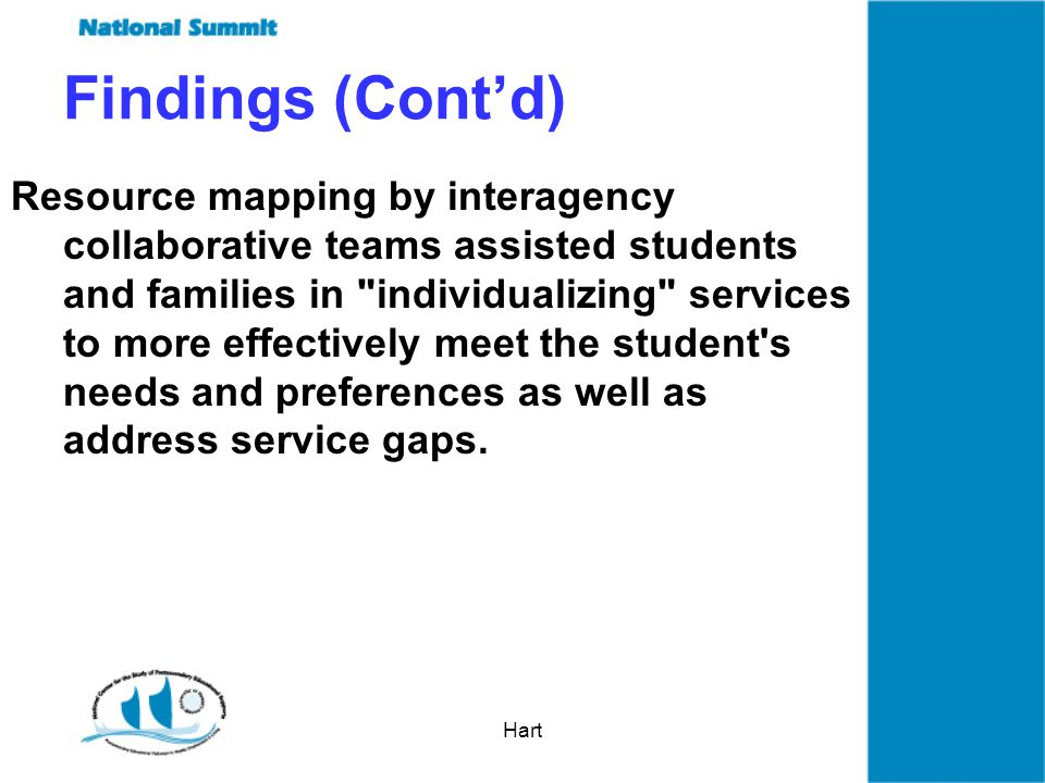 Hart Resource mapping by interagency collaborative teams assisted students and families in individualizing services to more effectively meet the student s needs and preferences as well as address service gaps.