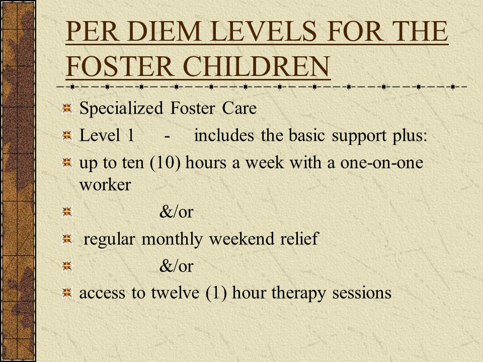 PER DIEM LEVELS FOR THE FOSTER CHILDREN Specialized Foster Care Level 1 - includes the basic support plus: up to ten (10) hours a week with a one-on-o